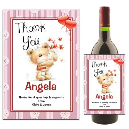 Personalised Thank You Wine / Champagne Bottle Label N42